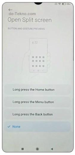 Setup Tombol pintasan Layar Split Xiaomi