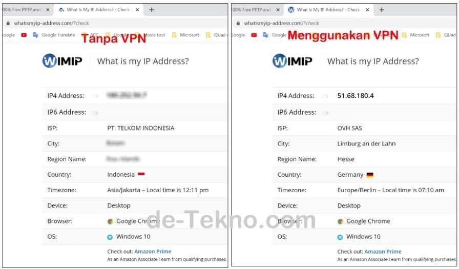 Cek Ip address tanpa VPN dan menggunakan VPN