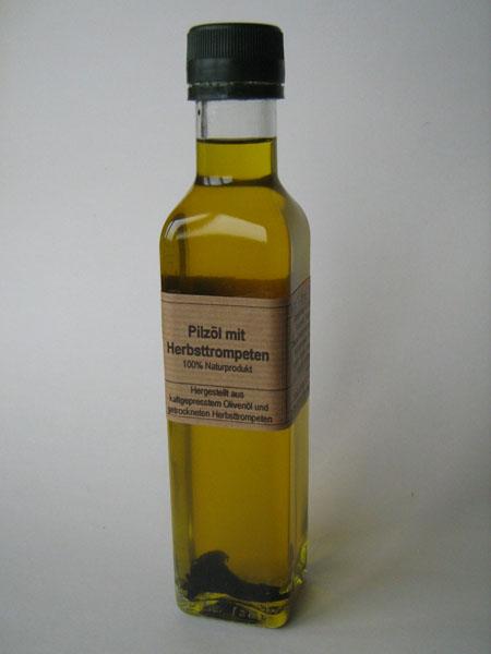 Pilz Öl Herbsttrompeten mediterran