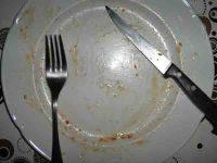 Pizza mit Brennessel nach dem Essen