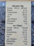 Kaffee-Power Riegel mit Naehrwerten pro 100g u pro 1 Riegel
