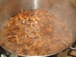 kochende Pfifferlinge im Topf fuer wuerziges Pfifferling Antipasti