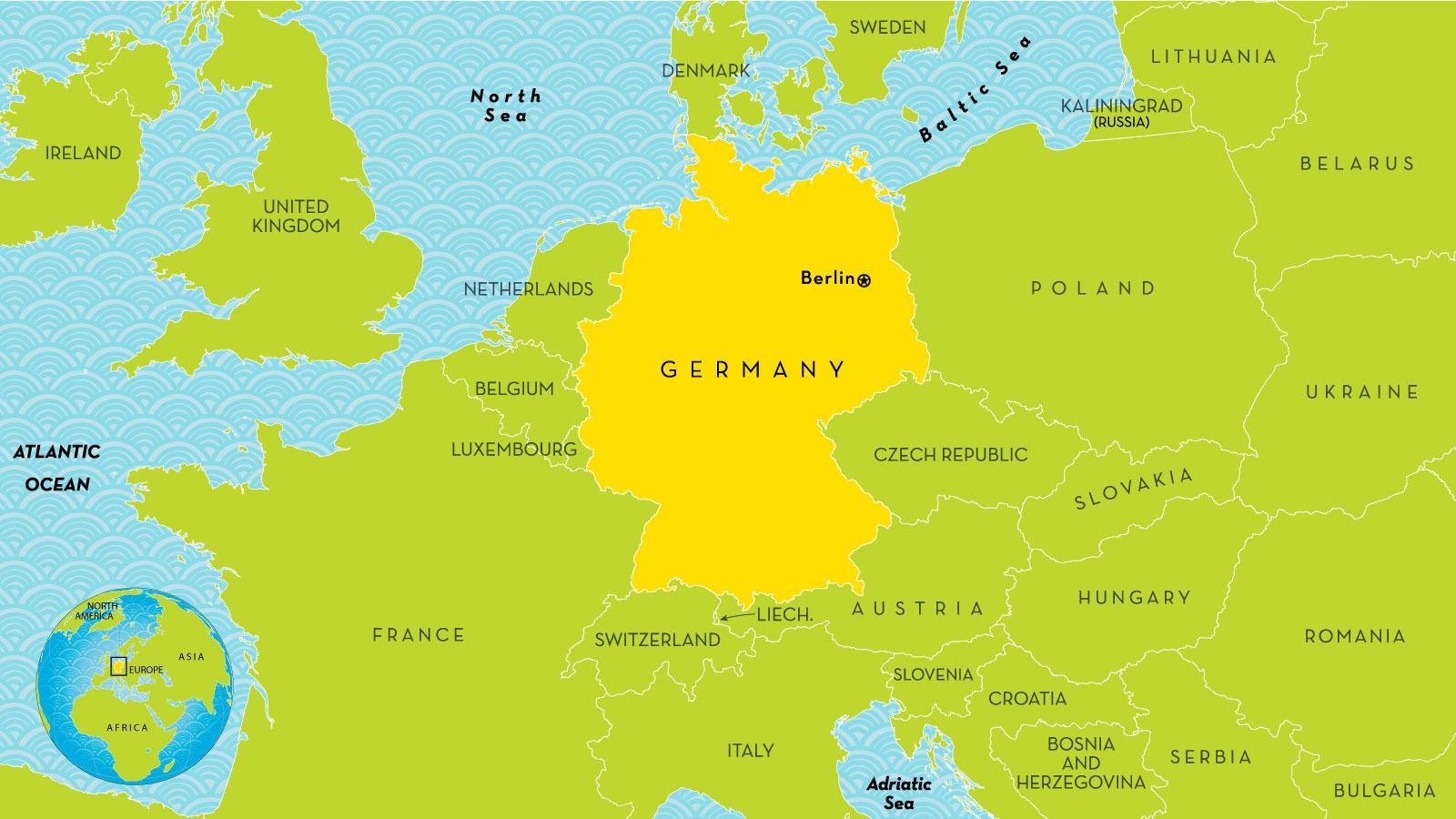 Karte Von Deutschland Und Den Umliegenden Landern