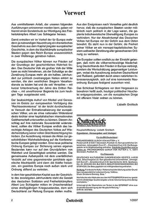 Albert Leo Schlageter – ein deutscher Freiheitskämpfer, Huttenbriefe Sonderdruck Februar 2007 - 02.jpg