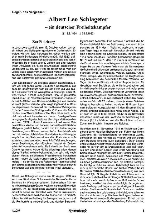 Albert Leo Schlageter – ein deutscher Freiheitskämpfer, Huttenbriefe Sonderdruck Februar 2007 - 03.jpg