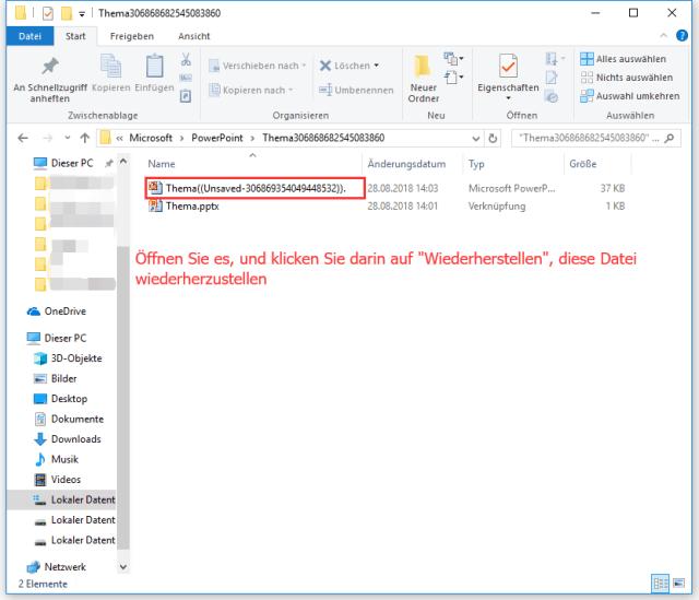 Automatisch gespeicherte Datei wiederherstellen