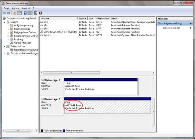 externe Festplatte wird in der Datenträgerverwaltung als RAW angezeigt