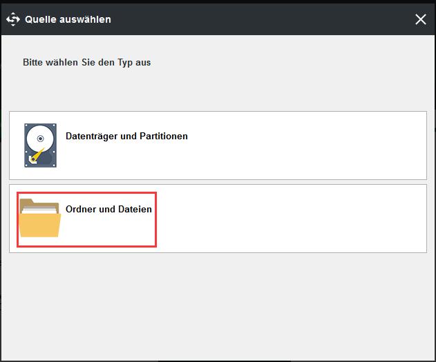 Wählen Sie zur Sicherung die Dateien aus