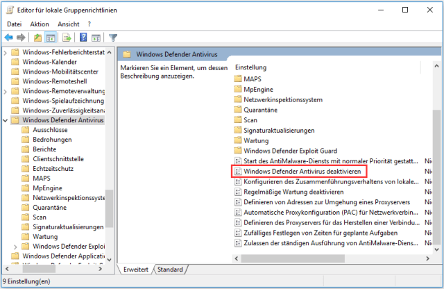 Windows Defender Antivirus deaktivieren