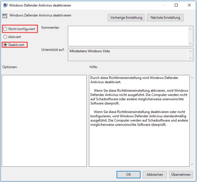 Windows Defender Antivirus deaktivieren 2