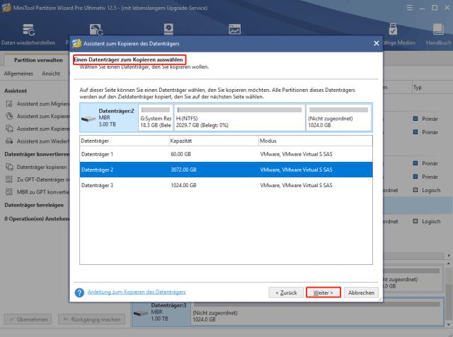 Datenträger zum Kopieren auswählen und Weiter klicken