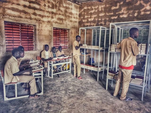 Einrichten der Schulbibliothek  Die ersten Zwiebeln im Gemüsegarten von Sougou
