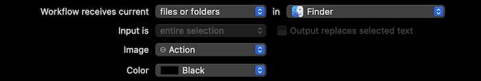 Festlegen des Workflows in Automator.