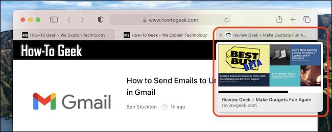 Ein Beispiel für die Registerkartenvorschau in Safari auf dem Mac