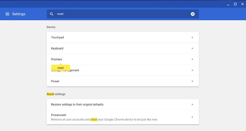 Powerwash Chromebook zurücksetzen