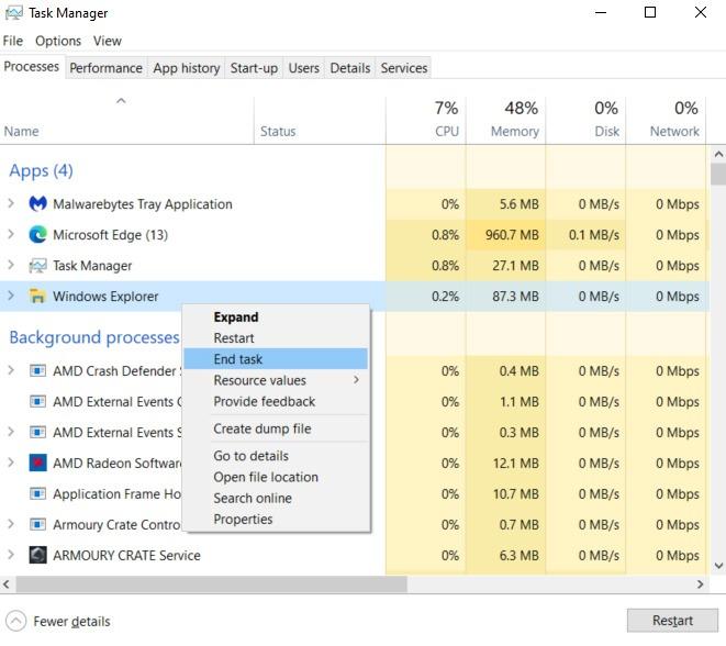 Beheben von Windows-Anwendungen, die nicht reagieren Beenden der Aufgabe