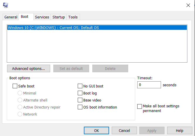 Windows reagiert nicht mehr Boot-Registerkarte