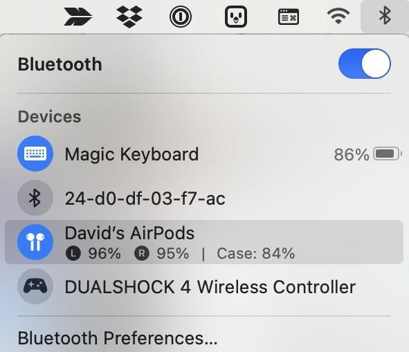 Überprüfen Sie die Akkulaufzeit des Airpods Mac