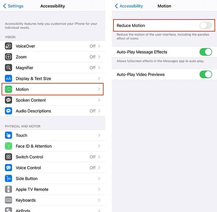 Barrierefreiheit Hacks Iphone Bewegungsreduzierung