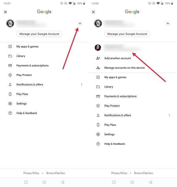 So wechseln Sie das Google-Konto Android Play Store Anderes Konto wechseln Other