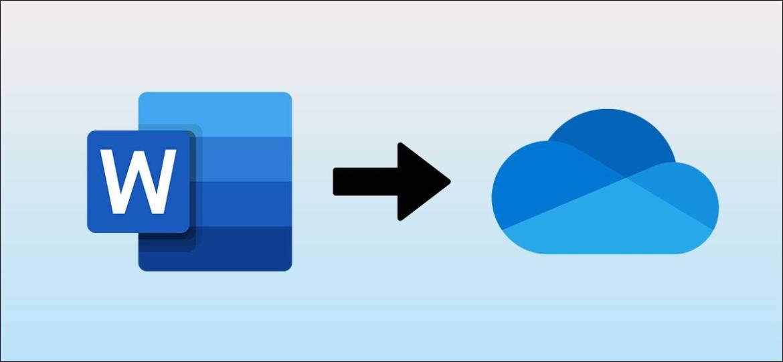 Microsoft Word-Logo mit einem Pfeil, der auf das OneDrive-Logo zeigt