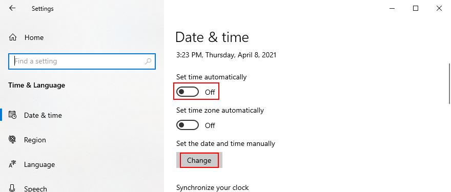 Windows 10 zeigt, wie Datum und Uhrzeit manuell eingestellt werden