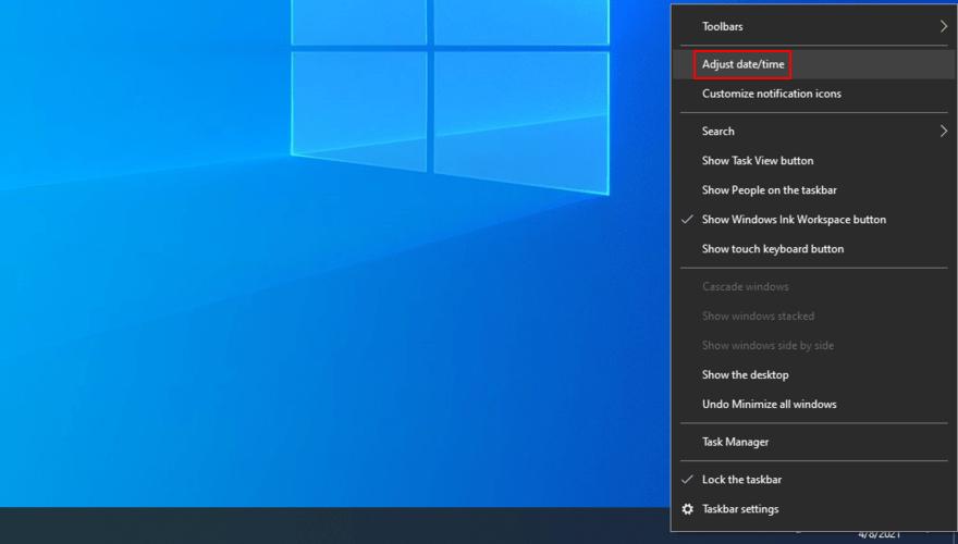 Windows 10 zeigt, wie Sie Datums- und Uhrzeiteinstellungen über die Taskleiste anpassen