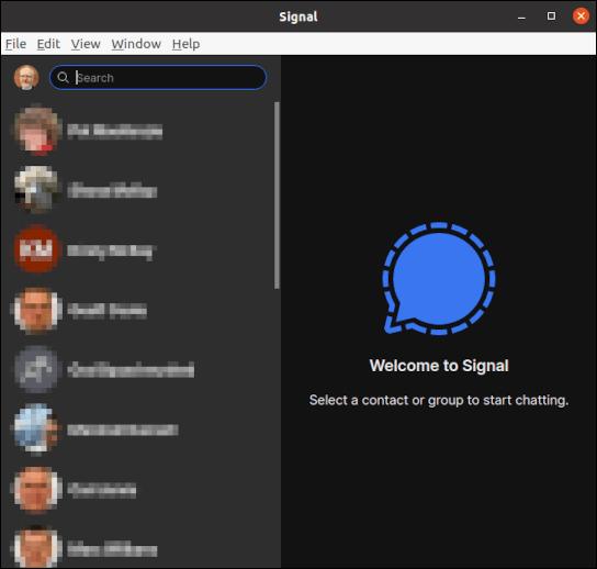 Hauptfenster des Signal-Desktop-Clients mit aufgelisteten Kontakten