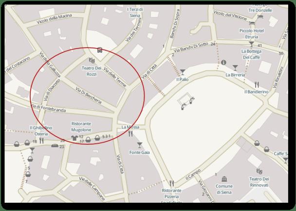 Siena - zona piazza del Campo  OpenStreetMap - Humanitarian Rendering