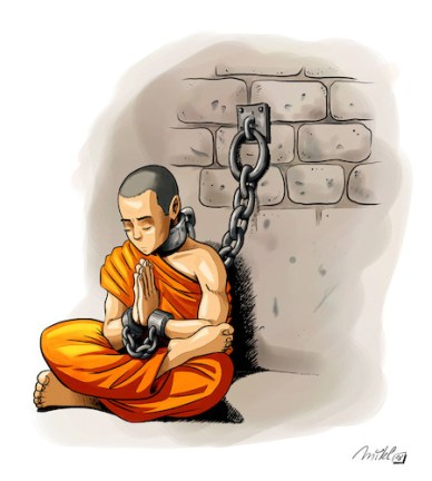 Cartoon: Free Tibet (medium) by Mikl tagged mikl,michael,olivier,miklart,illustration,art,tibet,monk,prisoner
