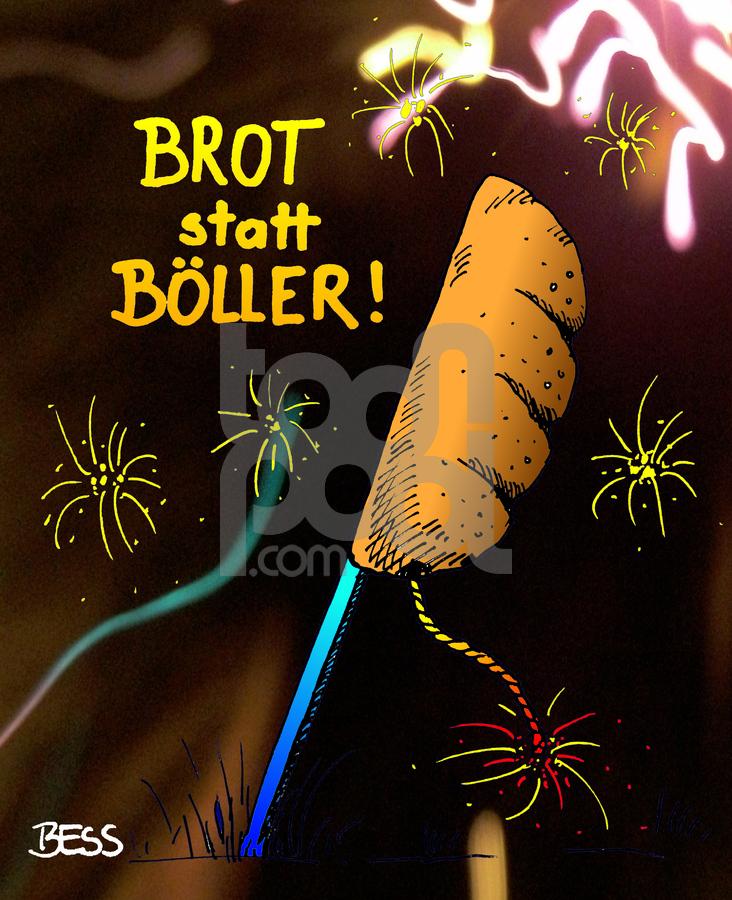 Cartoon: Brot statt Böller (large) by besscartoon tagged besscartoon,bess,raketen,drittewelt,welt,dritte,silvester,böller,brot