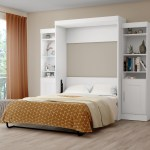 Bestar Edge By Bestar Full Wall Bed With Two 21 Storage Units In White Officesupply Com