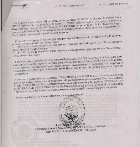 Documento donde se evidencia que Gerente Jurídico de PDVSA y Presidente de PDVSA están al tanto de irregularidad con MILITAREK.