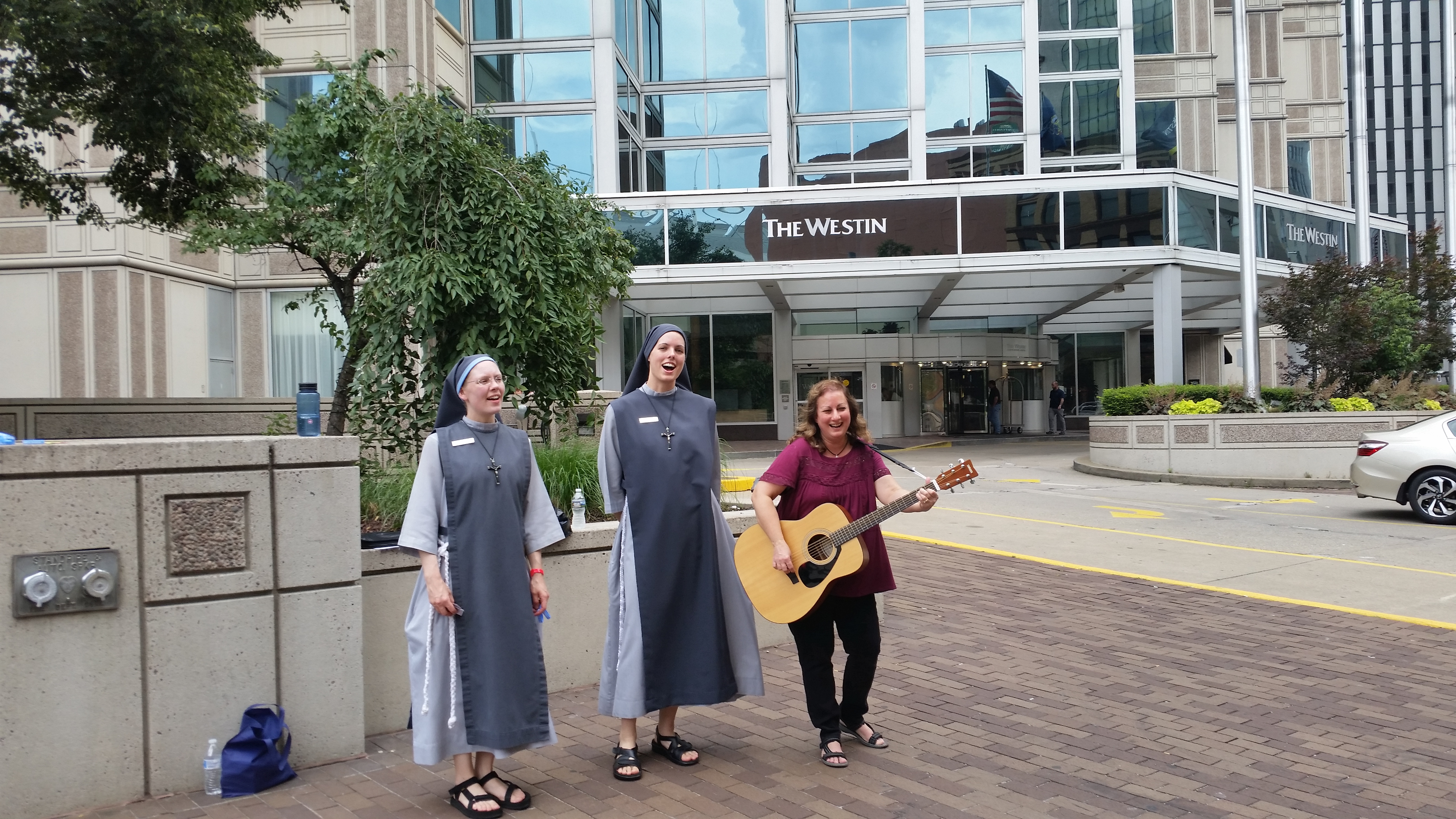 The streets were alive with the sound of music. This is outside our hotel.  The spirit of joy and praise carried on throughout the hotels and  restaurants and ...