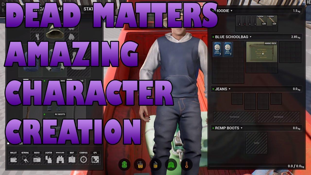 La conception de la création de personnage de Dead Matter est incroyable