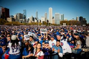 Fans celebrate at the Chicago Cubs World Series rally in Grant Park, Friday morning, Nov. 4, 2016, 2016.   Ashlee Rezin/Sun-Times