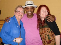 With Eric Bibb and a friend at the Hepburn Palais