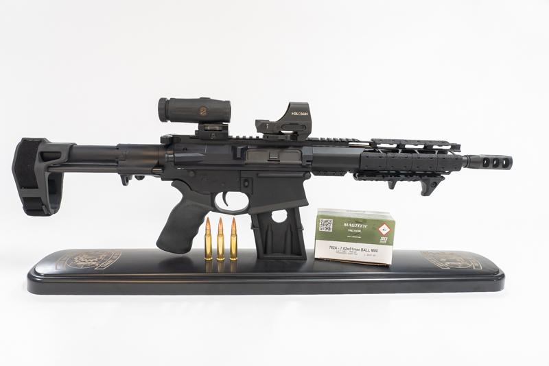 A custom AR-10 rifle at Dead On Arms