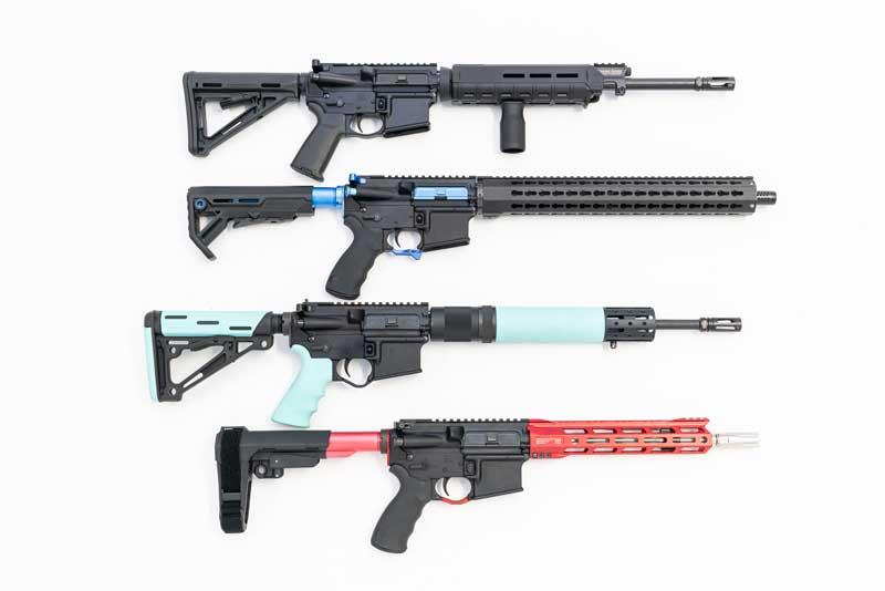 A selection of DOA custom AR-15 rifles.