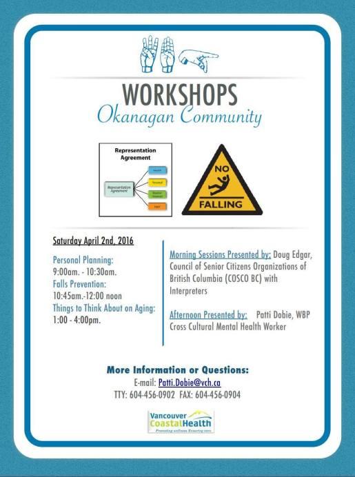 WBP & COSCO WORKSHOPS - OKANAGAN - APRIL 02, 2016