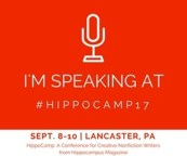 """Square with line image of a microphone and the words, I'm speaking at #hippocamp17"""" above date, place, and description of conference"""