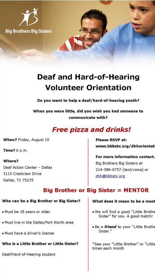 Big Brothers Big Sisters Volunteer Orientation Dfw Deaf Network