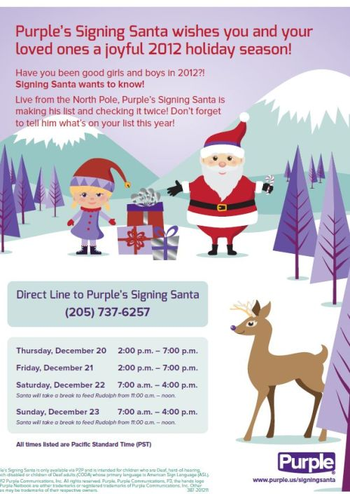 Don't forget to call Purple's Signing Santa!