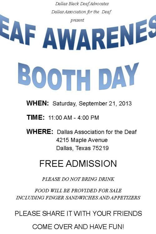 DBDA DAD Deaf Awareness Booth Day flyer