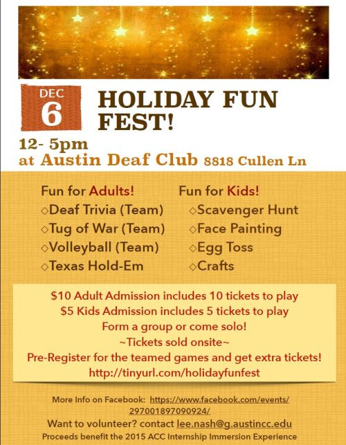 Holiday Fun Fest Dec 6 Austin