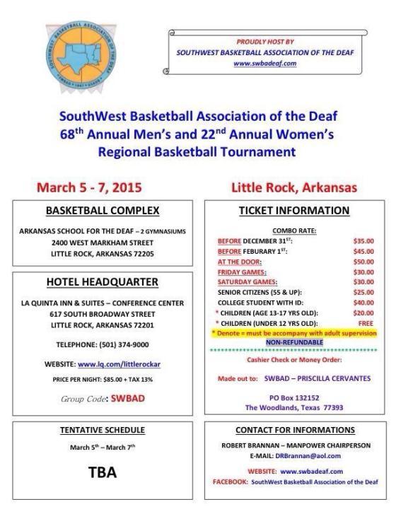 Southwest Basketball Association of the Deaf 2015 flyer