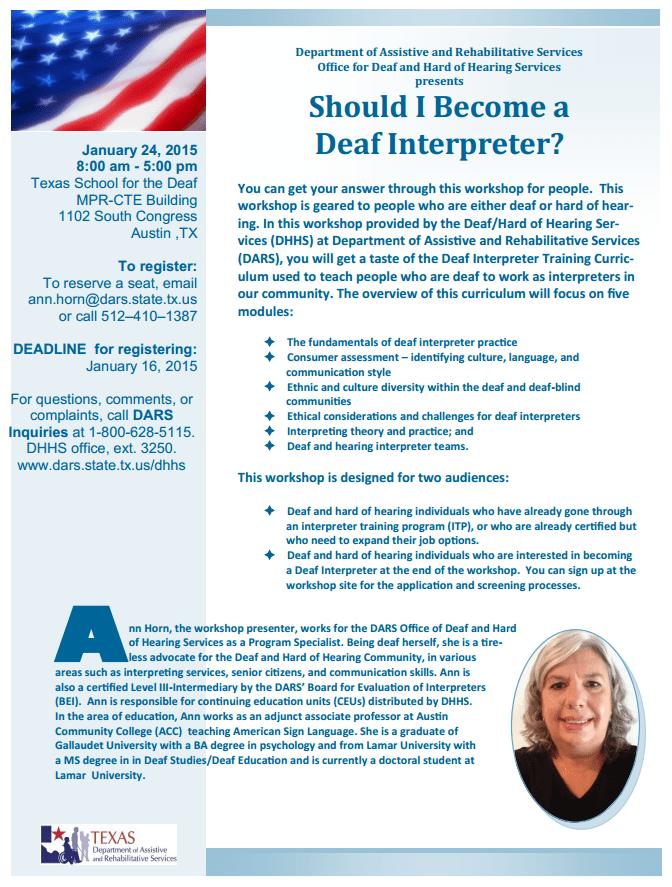 Should I Become A Deaf Interpreter Workshop 12415 Austin Deaf