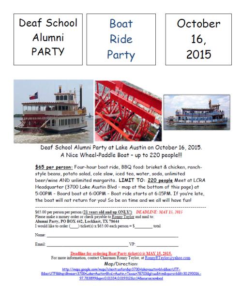 Alumni boat party 2015 flyer