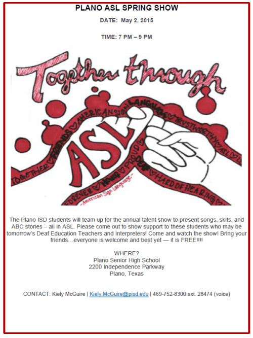 PISD Together Through ASL Flyer 2015