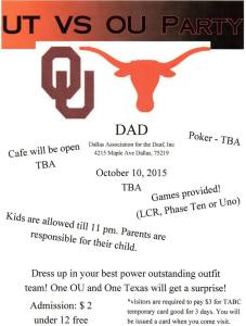 DAD OU vs UT 2015 flyer